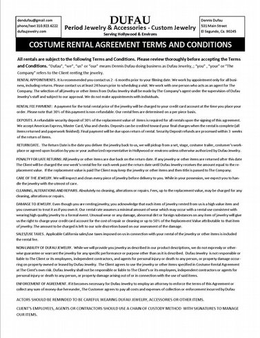 Rental Agreement Form Dufaujewelry